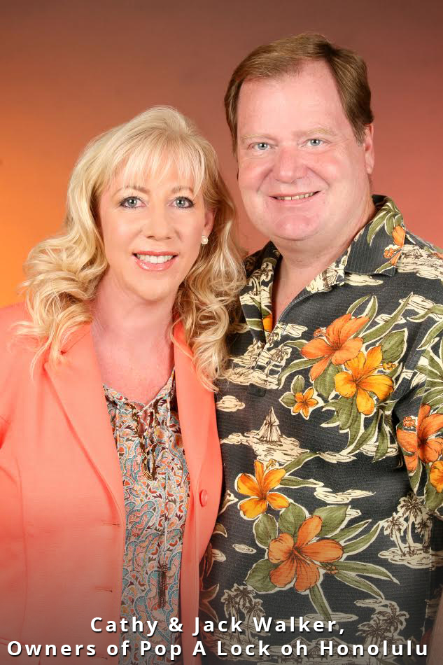 image of cathy and jack walker, owners of pop a lock of honolulu